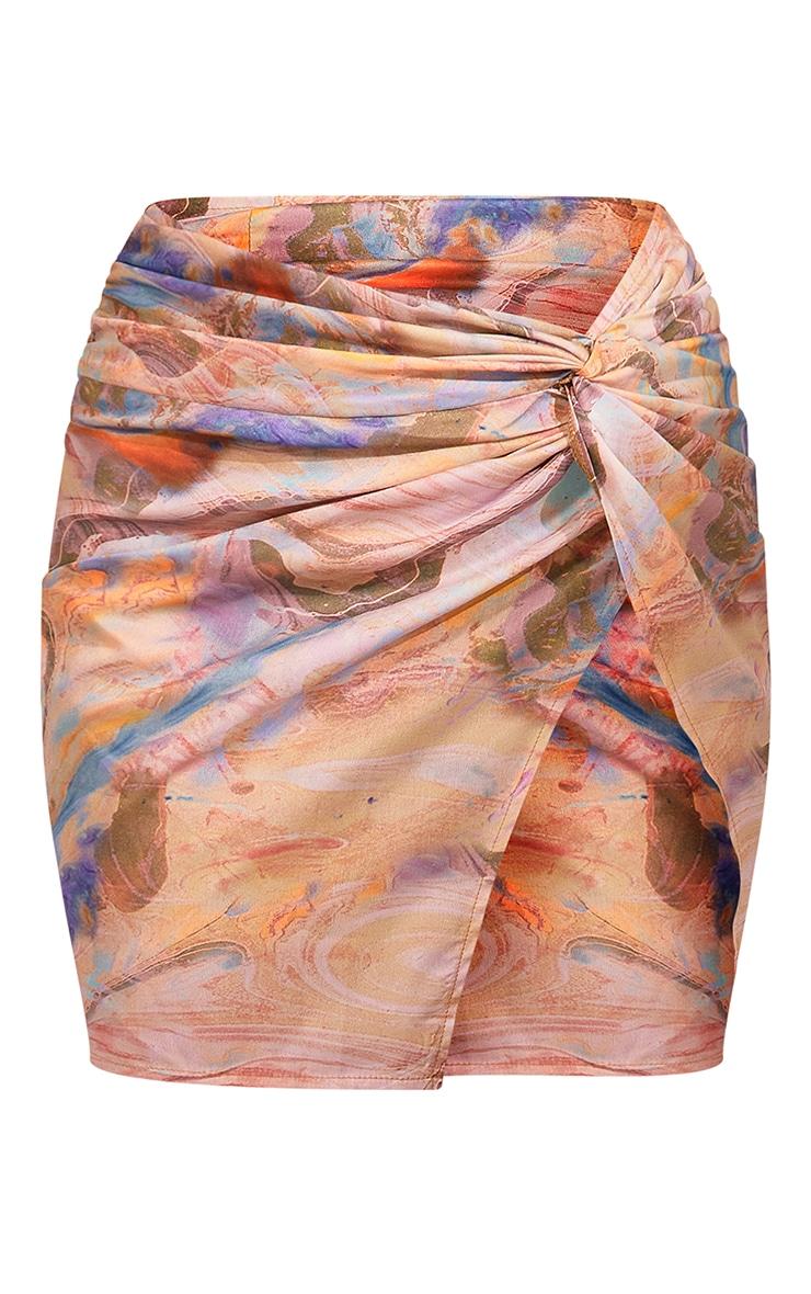Sand Marble Printed Twist Front Split Leg Mini Skirt 6
