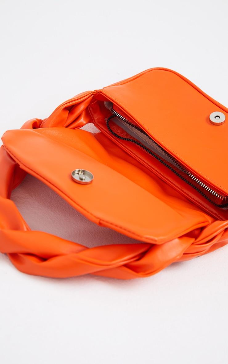 Orange Twist Strap Ruched Front Shoulder Bag 3