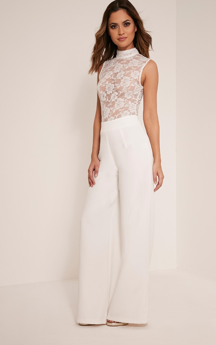 Miley White Sleeveless Lace Top Jumpsuit 5
