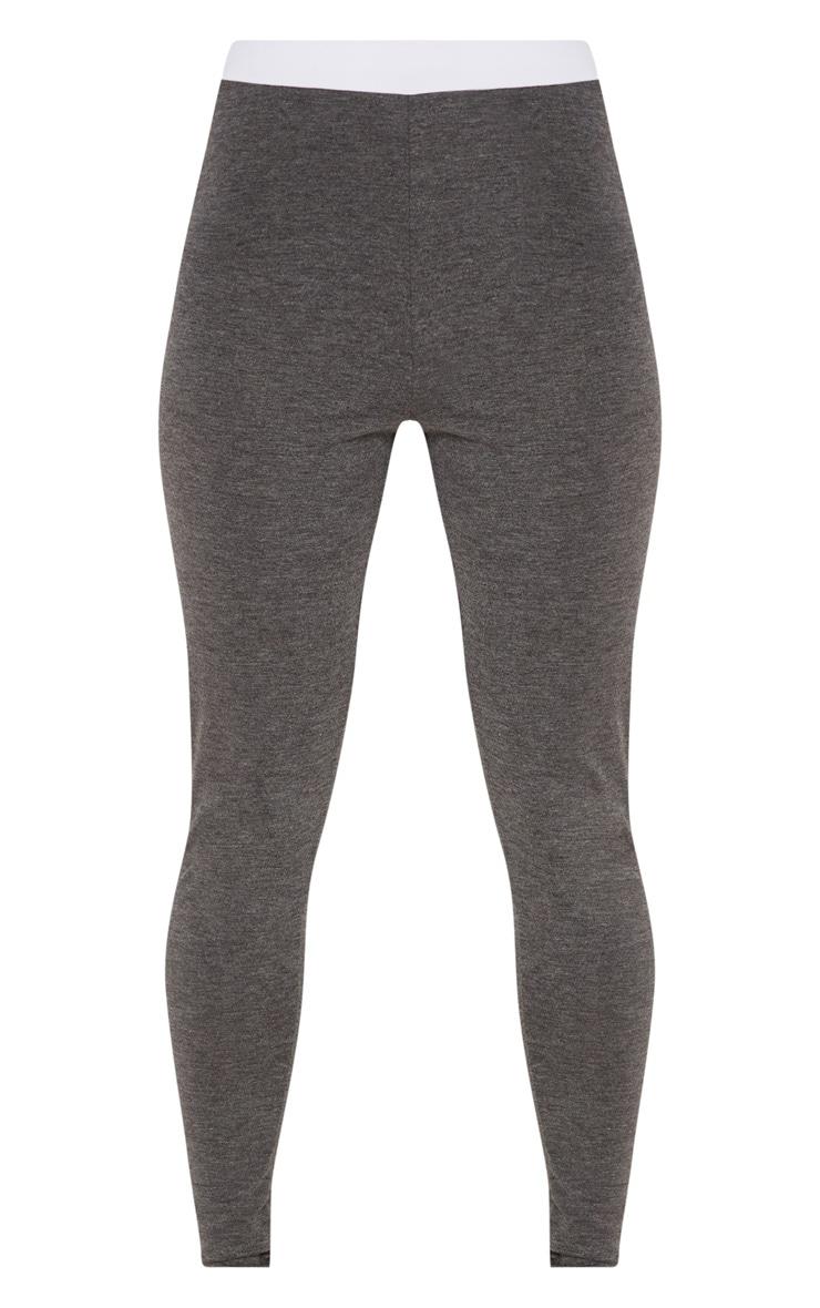 Dark Grey Contrast Waist Leggings 3