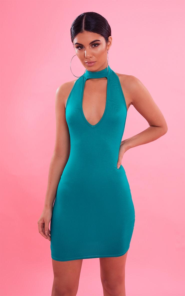 Bright Green High Neck Plunge Bodycon Dress 2
