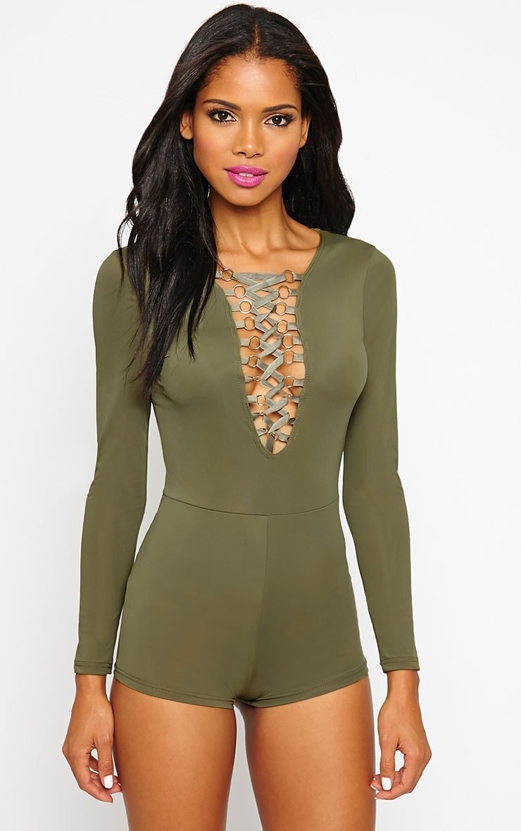 Christelle Khaki Lace Up Front Playsuit 1