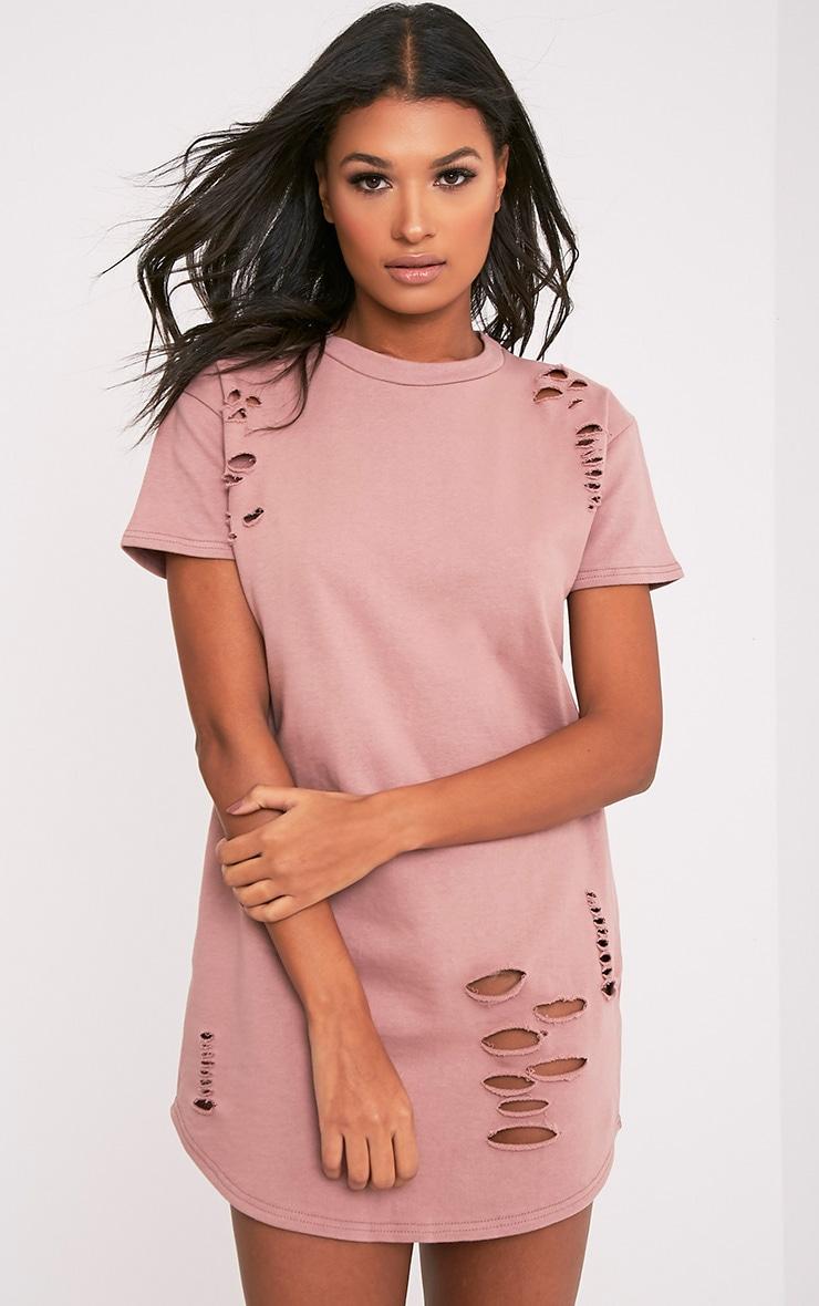 Kelisa Dark Mauve Distressed Short Sleeve T-Shirt Dress 4