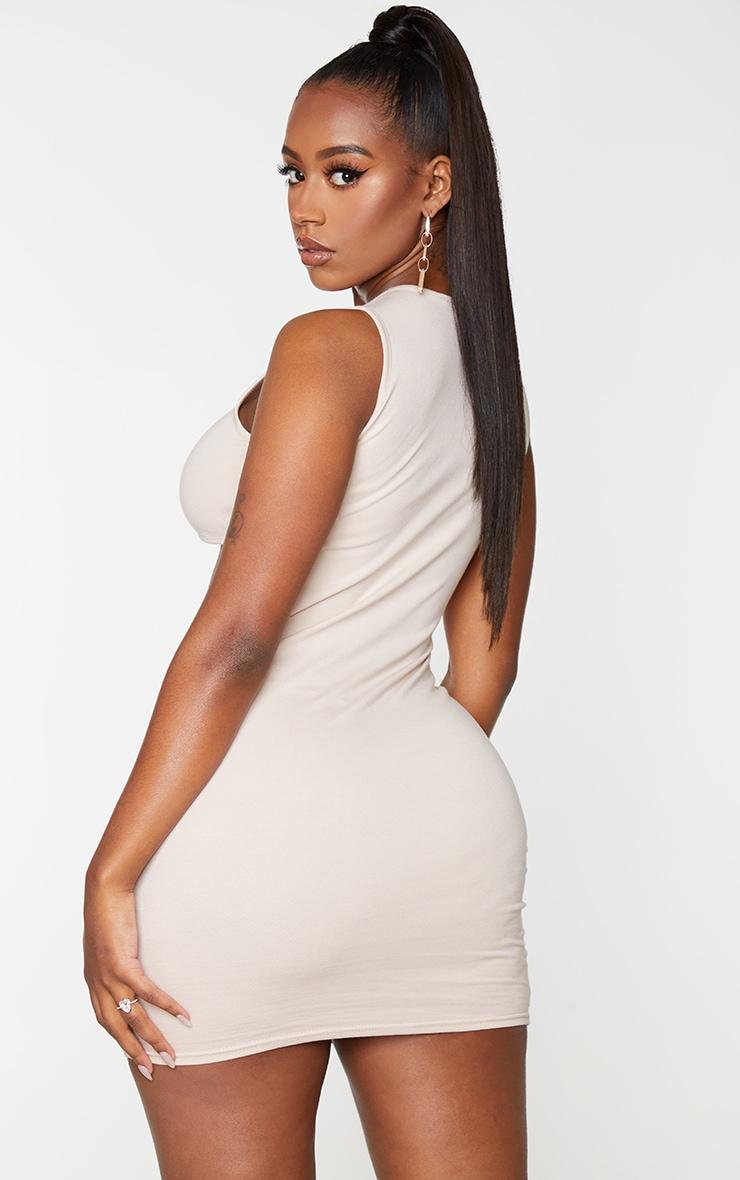 Shape Nude Cotton Cut Out Sleeveless Bodycon Dress 2