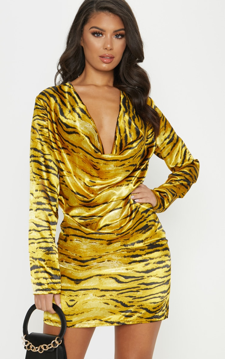 Gold Tiger Print Cowl Bodycon Dress 1