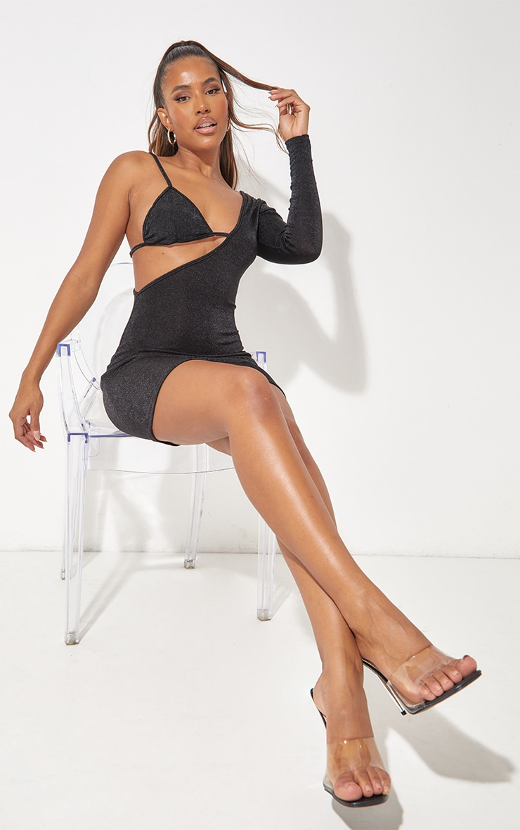 Black Textured Slinky One Shoulder Bralet Detail Bodycon Dress 3