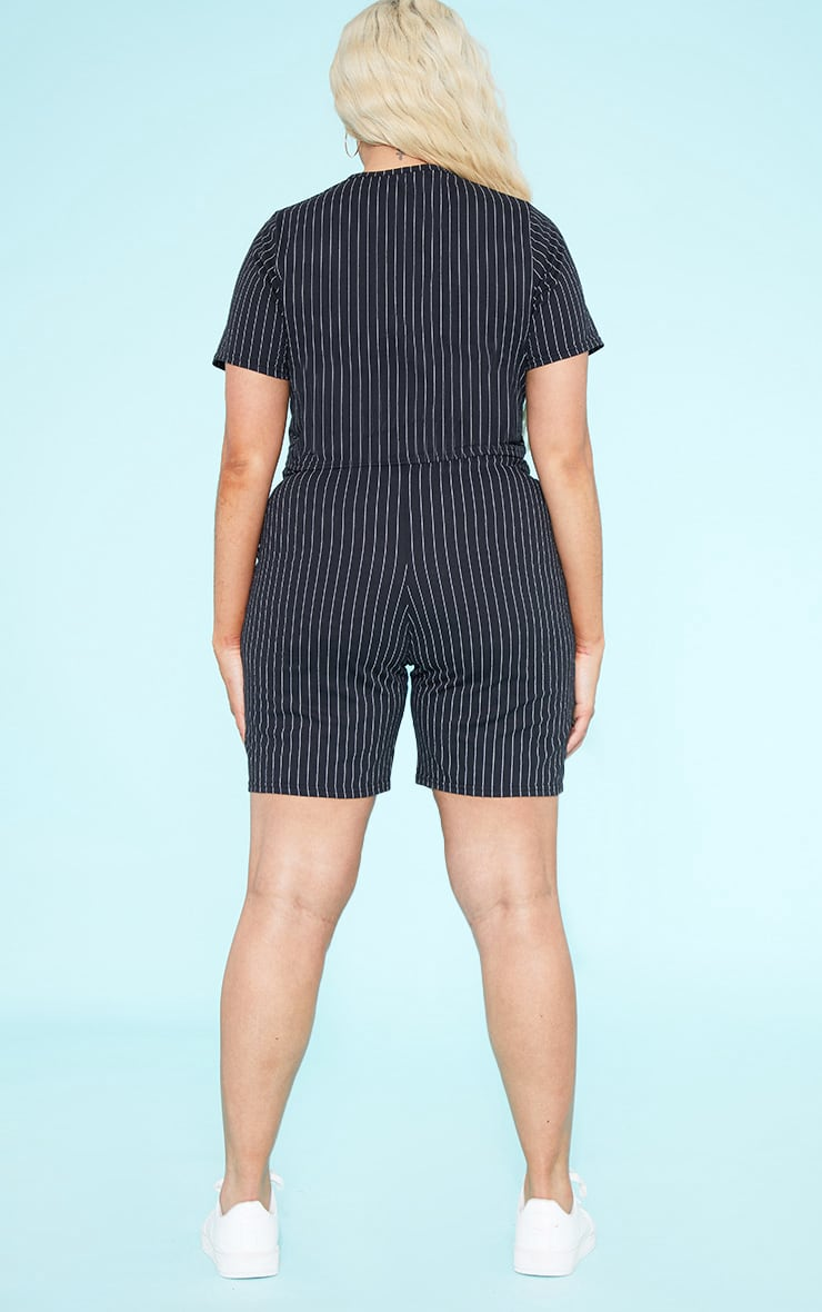 RECYCLED Plus Black Pinstripe Crop T Shirt 5
