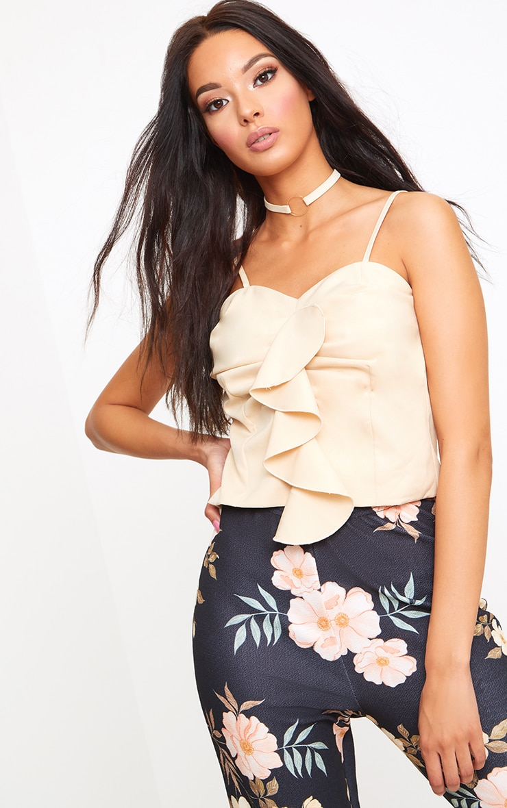 Nude Frill Detail Woven Cami Top  1