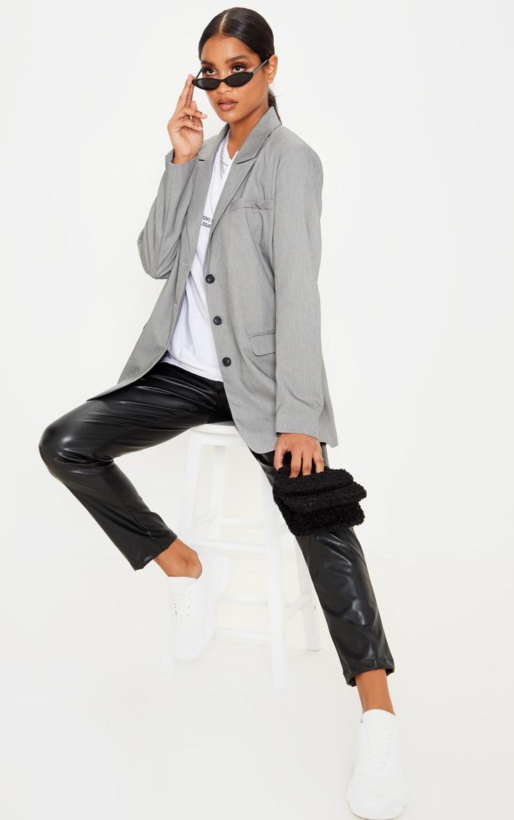 Grey Oversized Woven Blazer 4