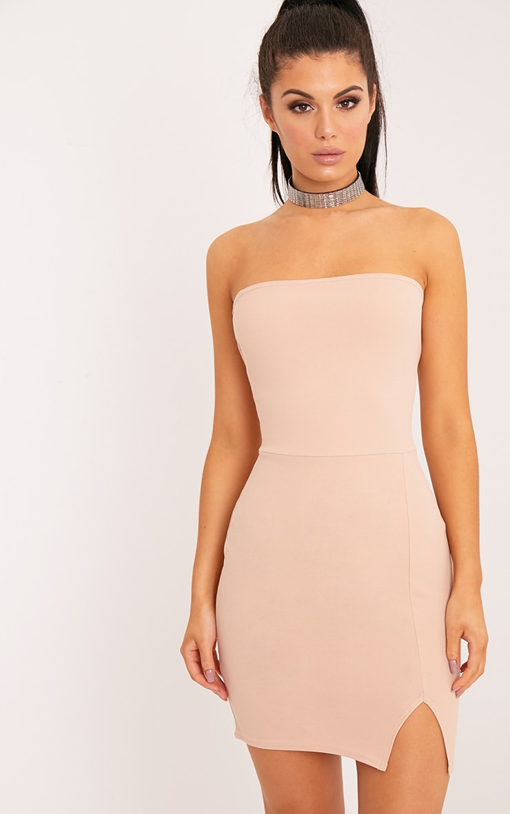 24da8c11ba99 Layala Nude Split Detail Bandeau Bodycon Dress image 1