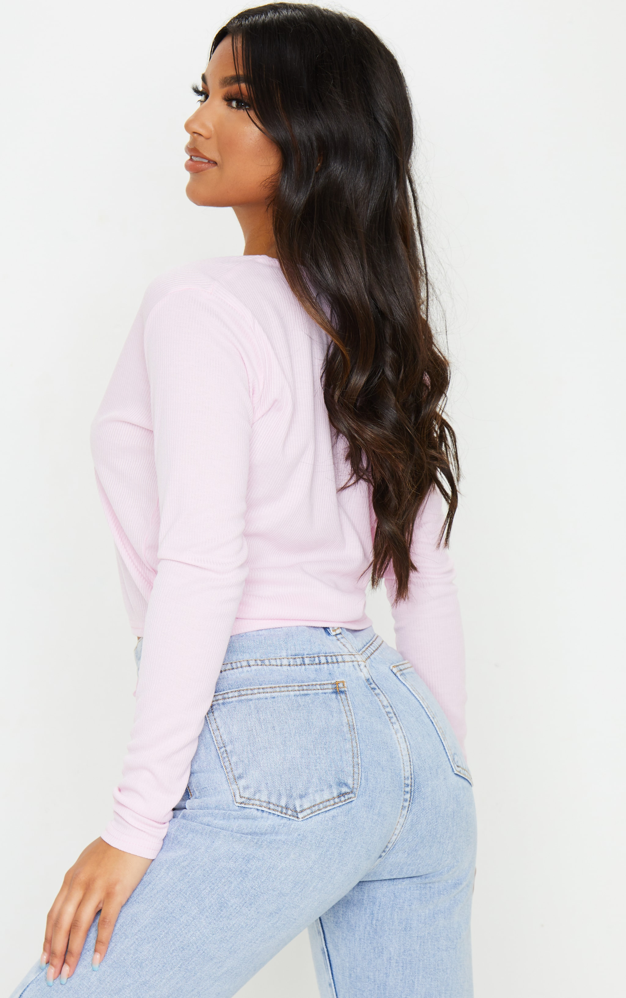 Baby Pink Rib Tie Front Long Sleeve Crop Top 2