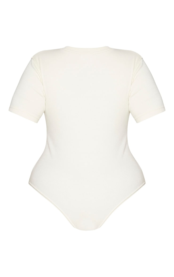 Plus Cream Thick Rib Cap Sleeve Bodysuit 6