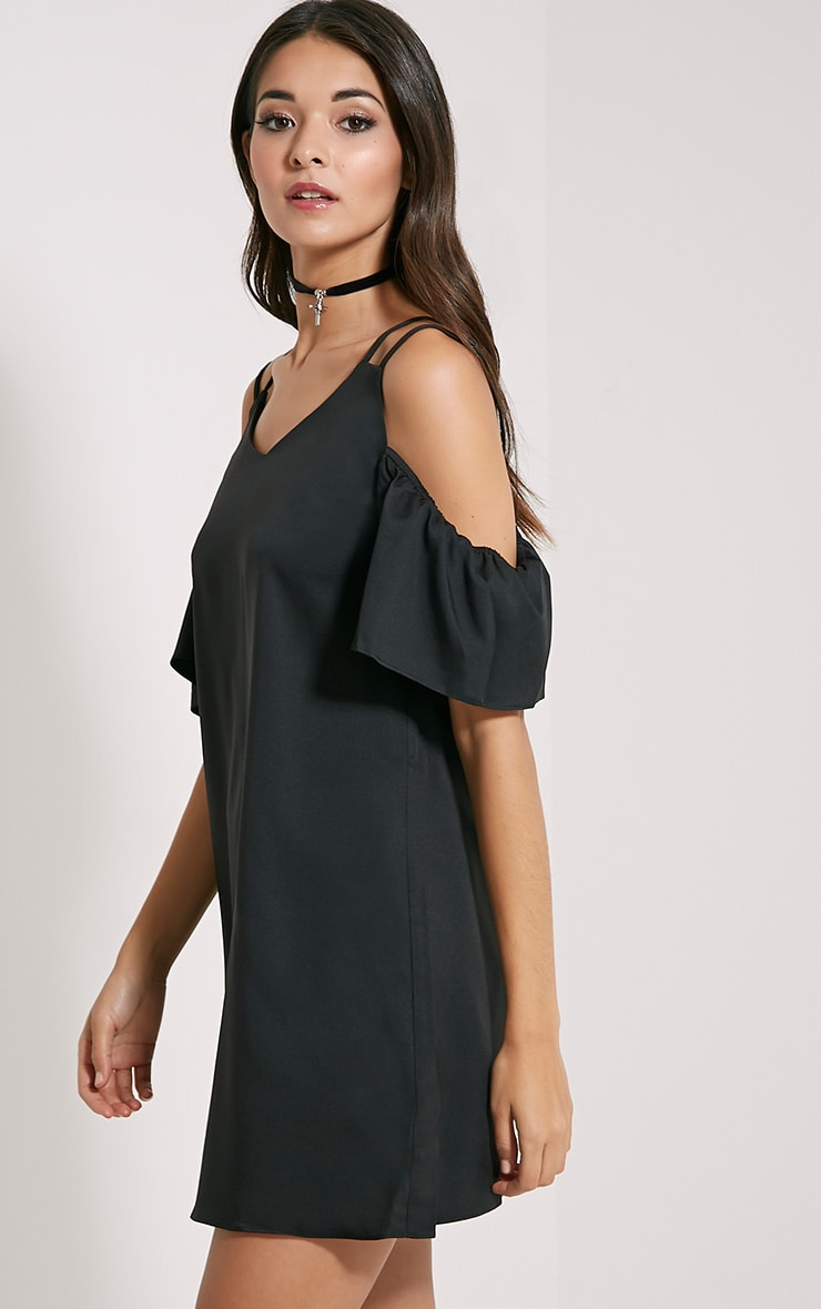 Dilys Black Cut Out Shoulder Dress 4