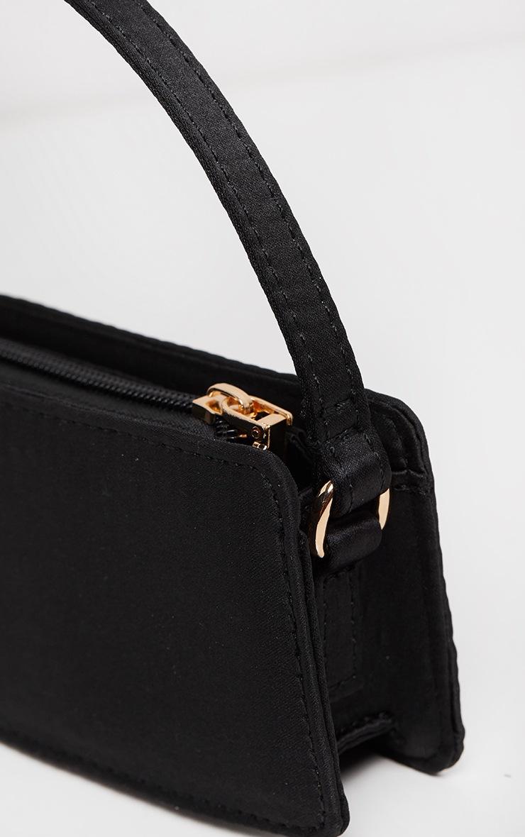 Black Satin Rectangle Micro Mini Bag     4