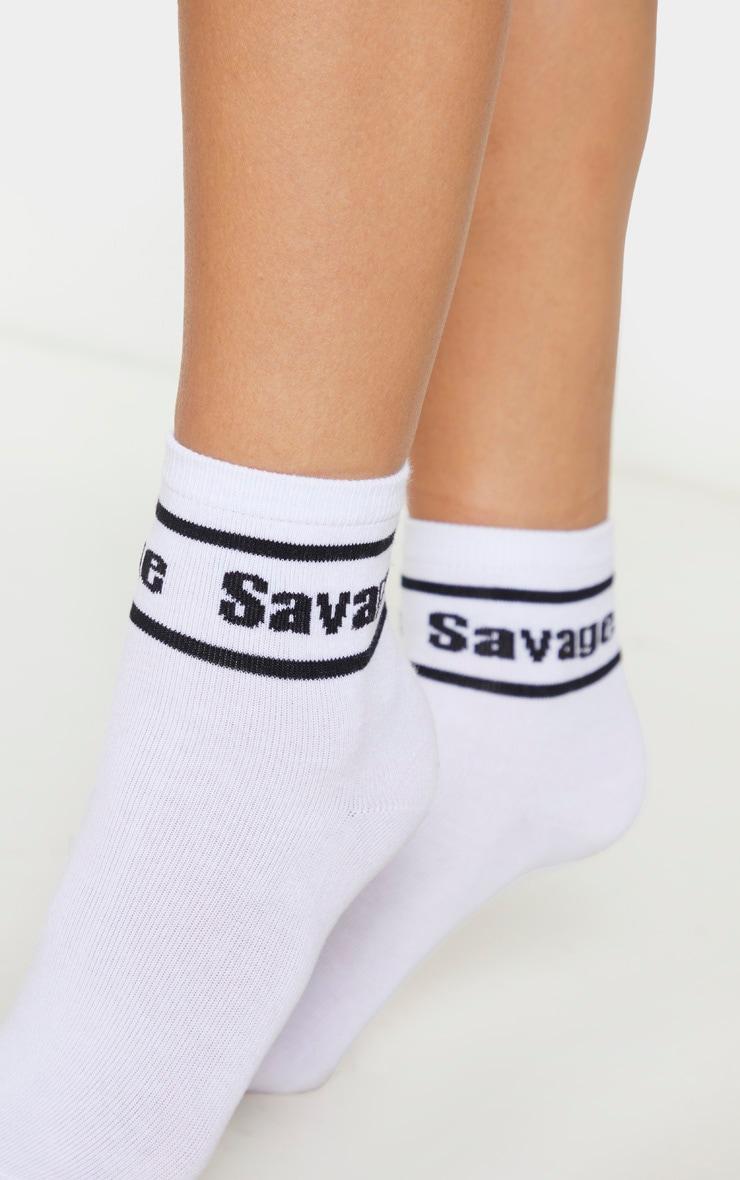 White Savage Ankle Socks 1