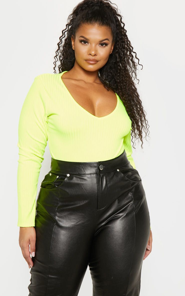 Plus Neon Yellow Rib Long Sleeve Bodysuit 1