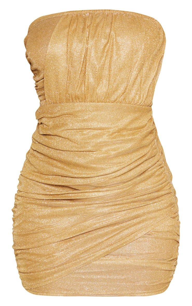 Gold Textured Metallic Glitter Ruched Bandeau Bodycon Dress  3