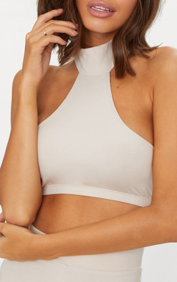 Cream Second Skin Halterneck Crop Top 5
