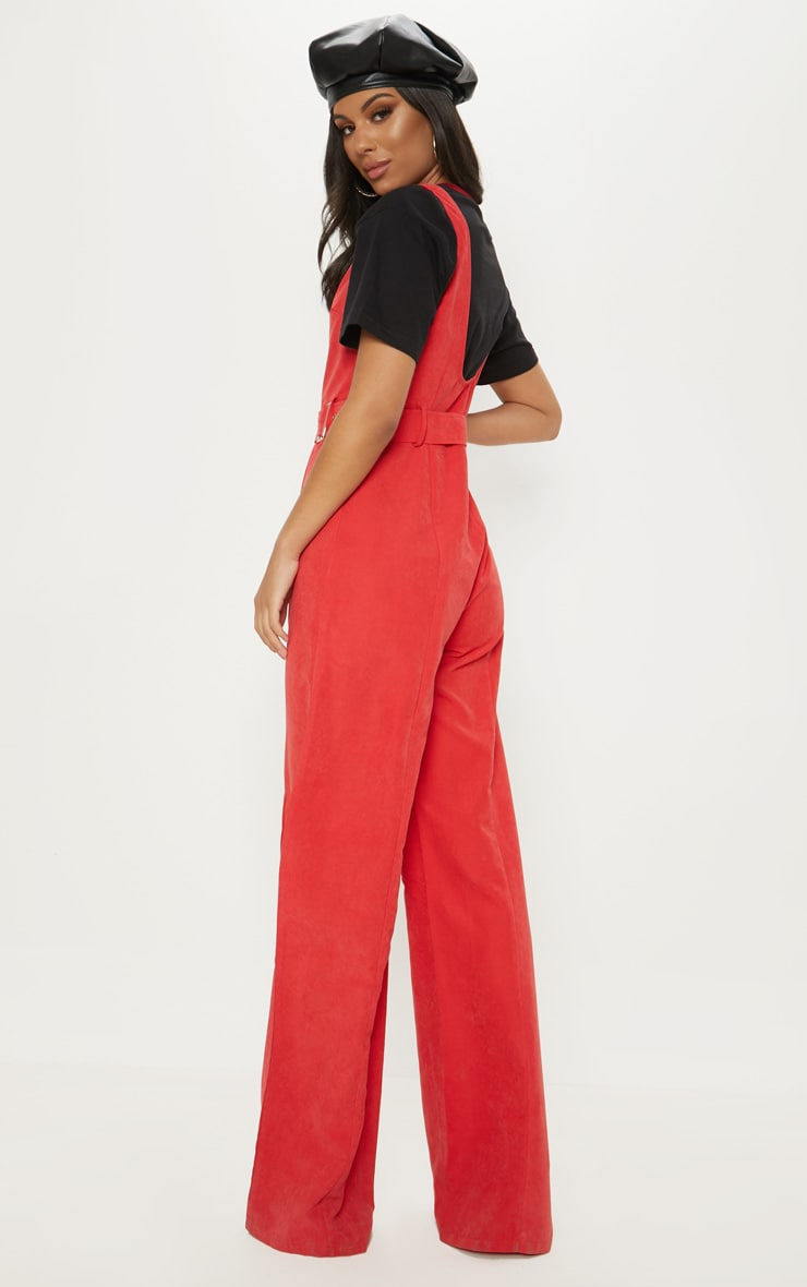 Red Soft Touch Belted Wide Leg Jumpsuit 2