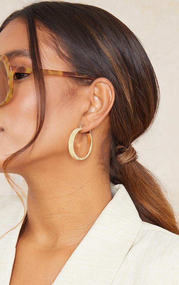 Gold Textured Ribbed 3 Pack Hoop Earrings 2