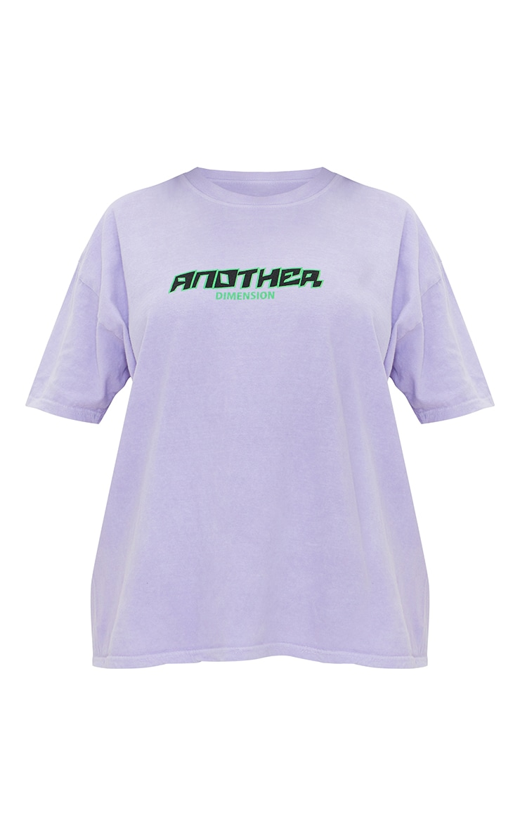 Lilac Another Dimension Front & Back Printed Washed T Shirt 5