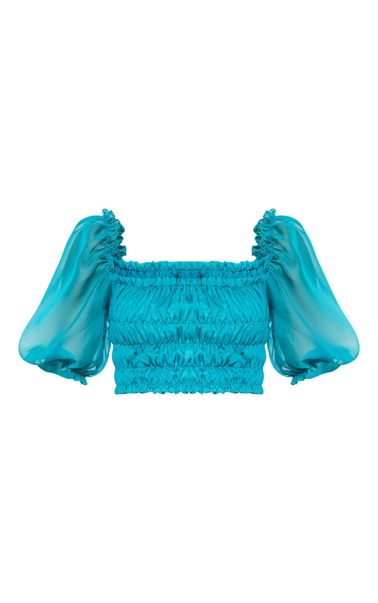 Teal Shirred Chiffon Crop Top 3