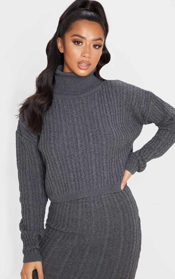 Petite Charcoal Roll Neck Knitted Long Sleeve Sweater 1