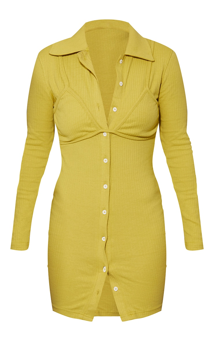 Chartreuse Bralet Overlay Button Down Rib Bodycon Dress 5