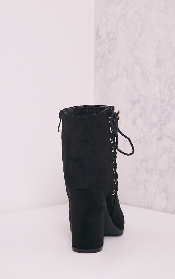 Honor Black Lace Up Side Heeled Ankle Boots 4