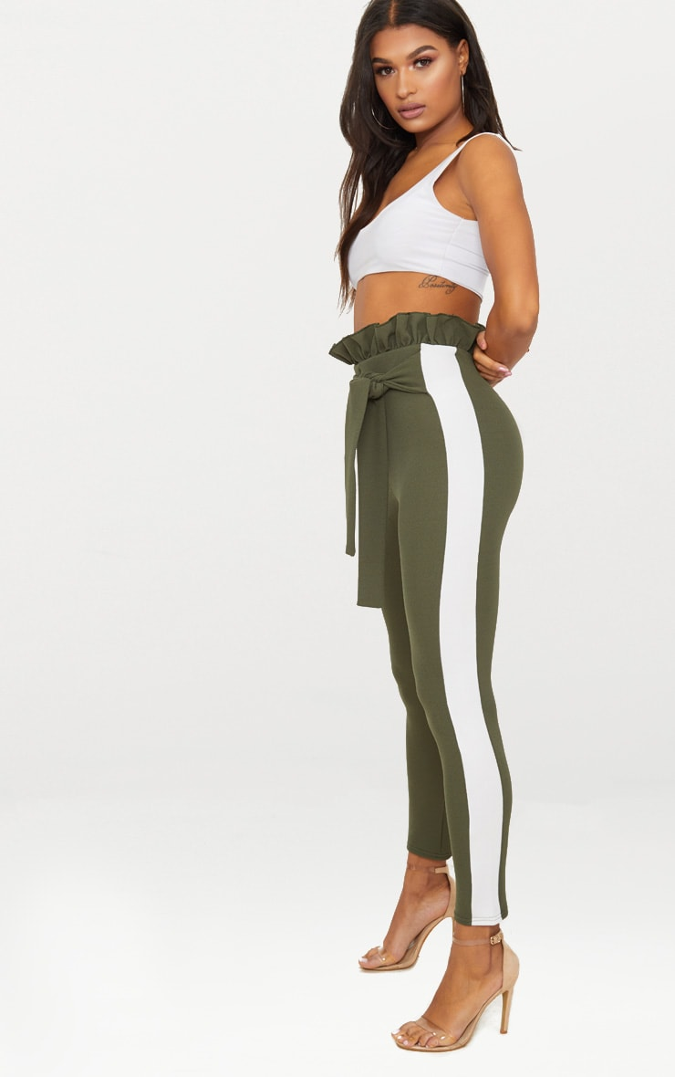 Khaki Side Stripe Paperbag Skinny Trousers 1