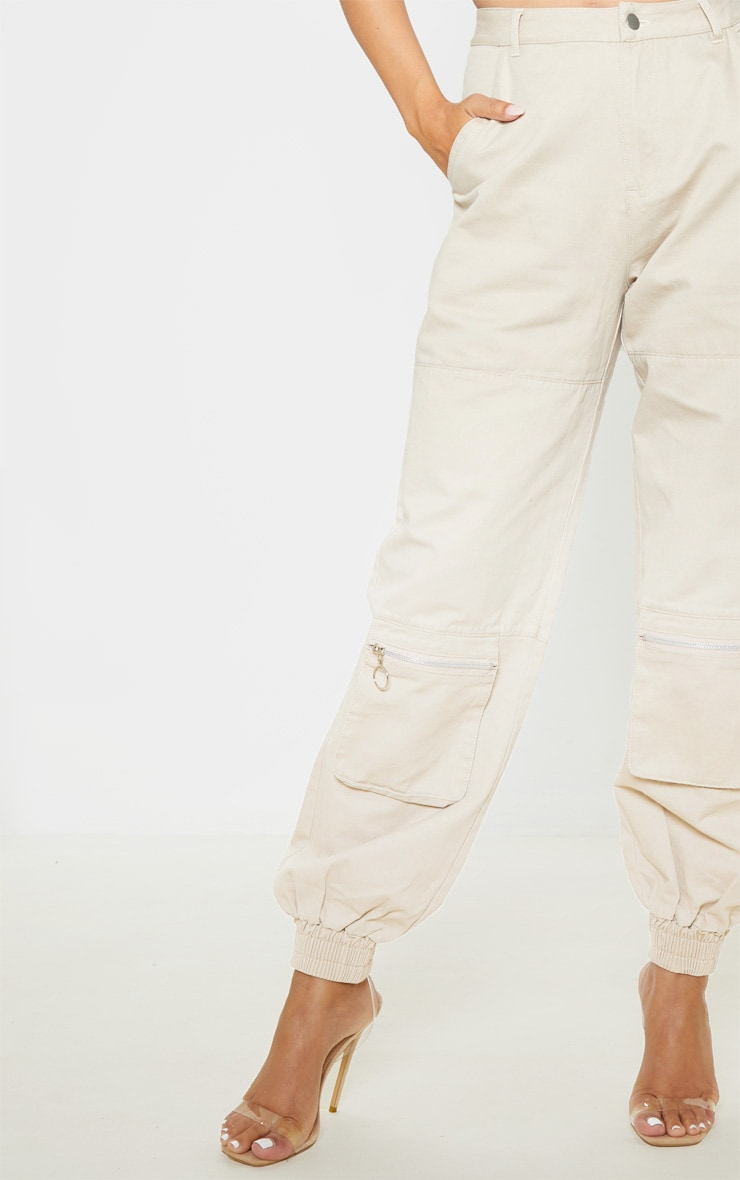 Sand Front Zip Pocket Elastic Cuff Jeans 5