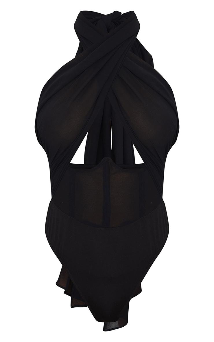 Black Chiffon Halterneck Underbust Corset Detail Bodysuit 5
