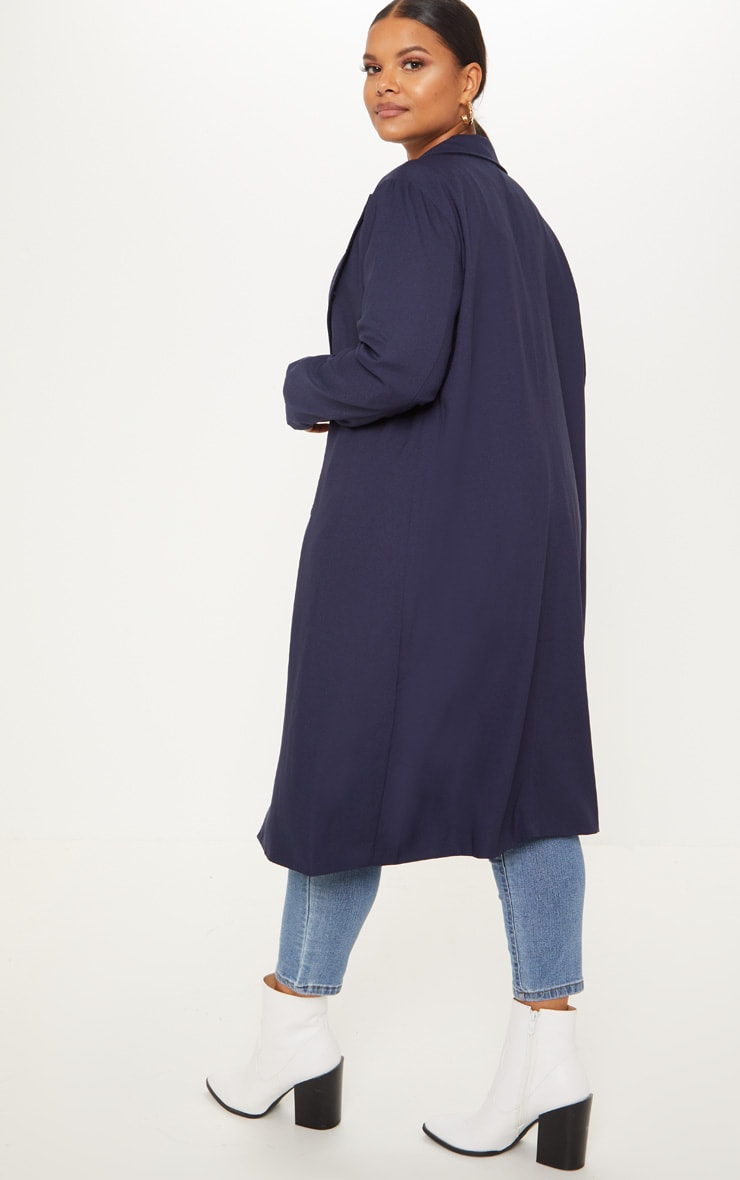 Plus Navy Woven Oversized Trench Coat 2
