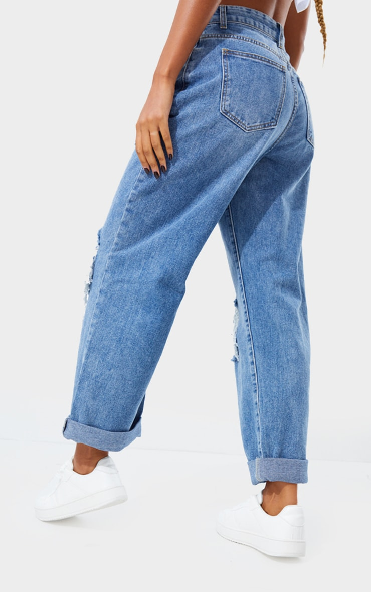 PRETTYLITTLETHING Mid Blue Wash Open Knee Distressed Turn Up Boyfriend Jean 3