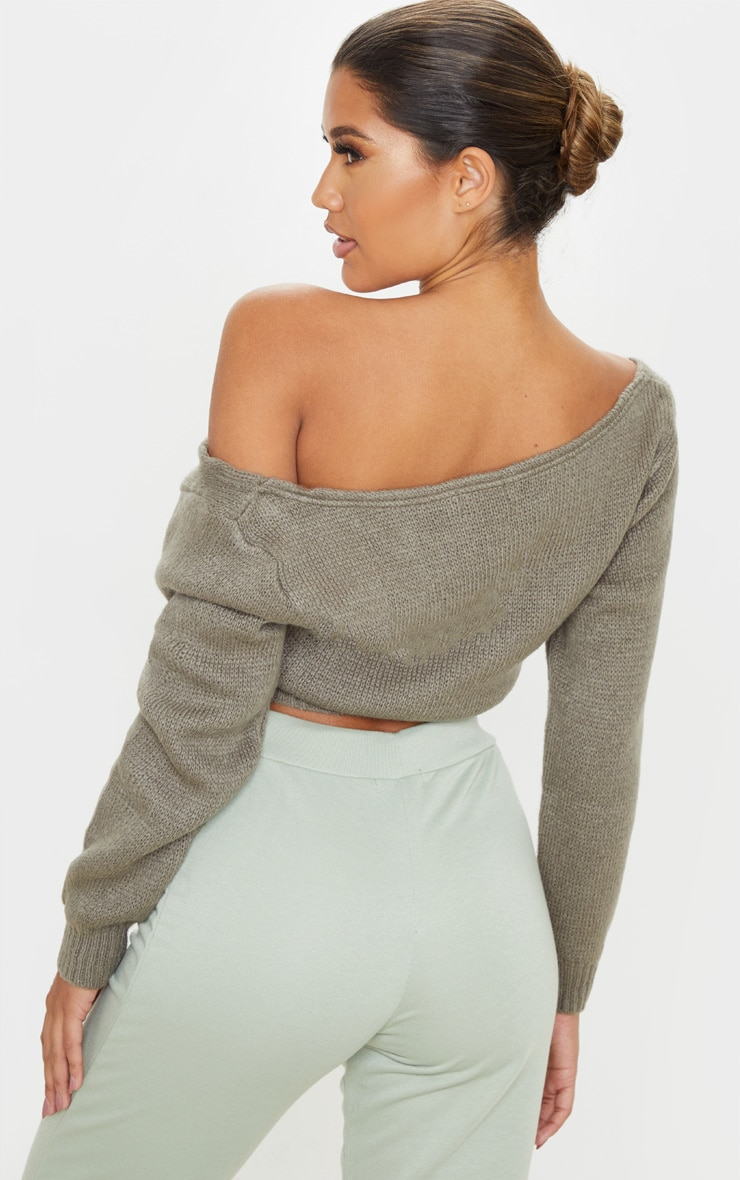 Khaki V Neck Off Shoulder Soft Knitted Crop Jumper 2