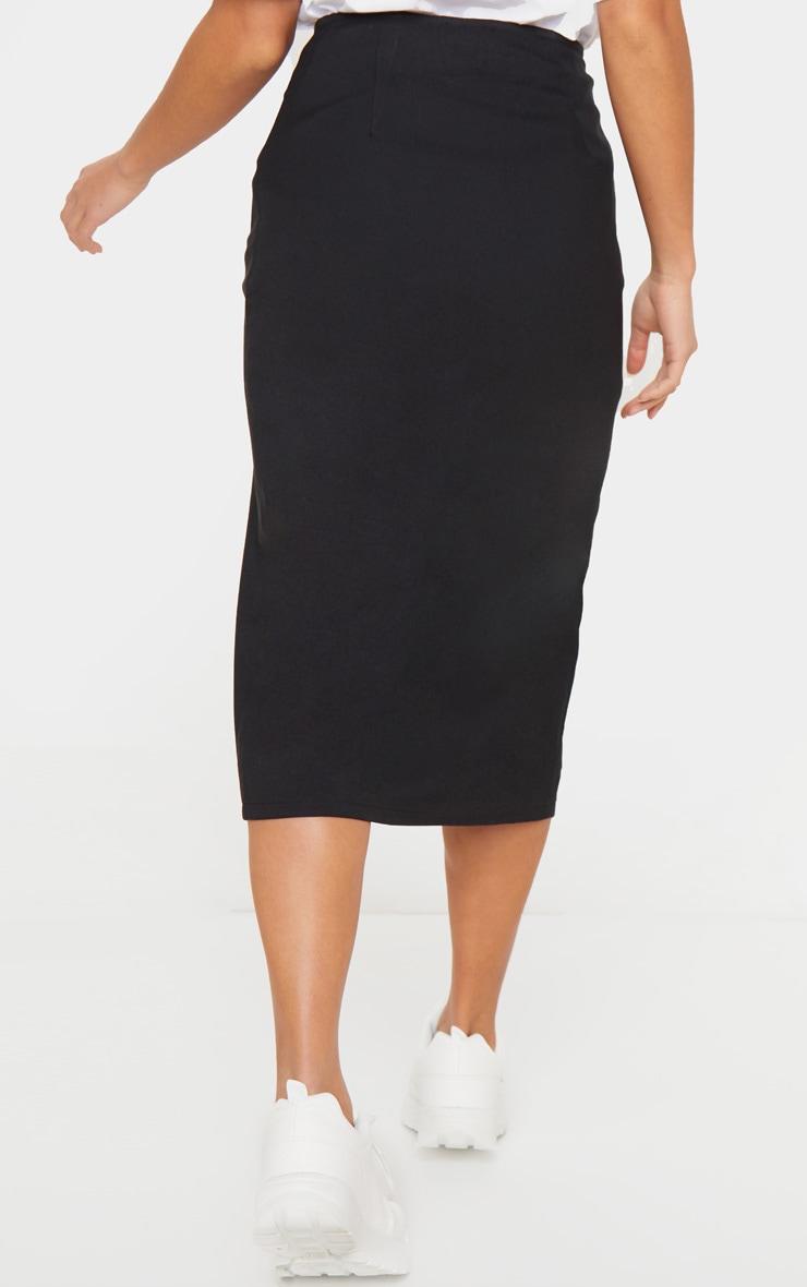 Petite Black Button Midi Skirt 4