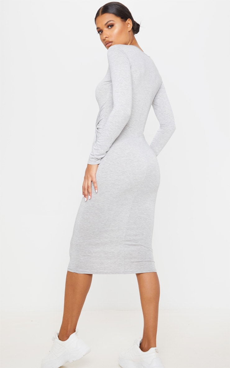 Grey Tie Waist Long Sleeve Midi Dress 2