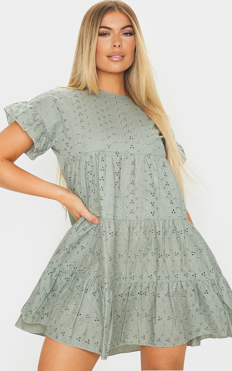 Sage Green Broderie Anglaise Smock Dress 1