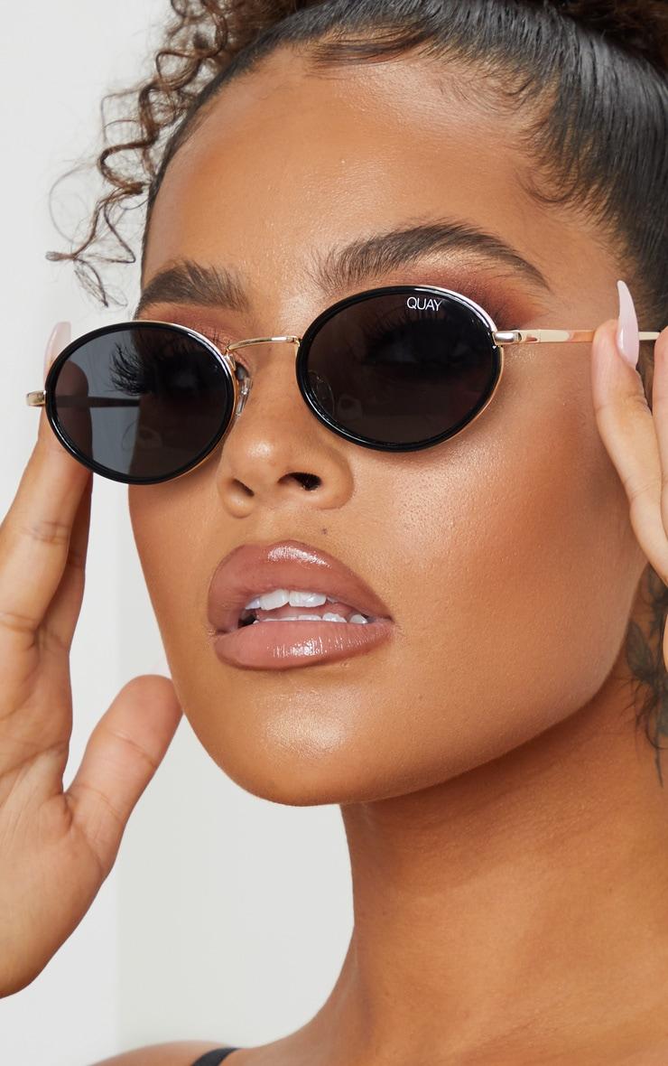 QUAY AUSTRALIA Black Round Gold Bar Line Up Sunglasses 1