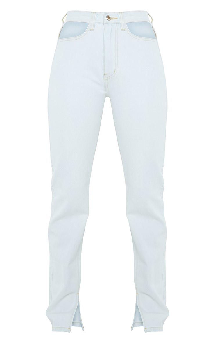 Bleach Wash Cut Out Hip Split Hem Jeans 5