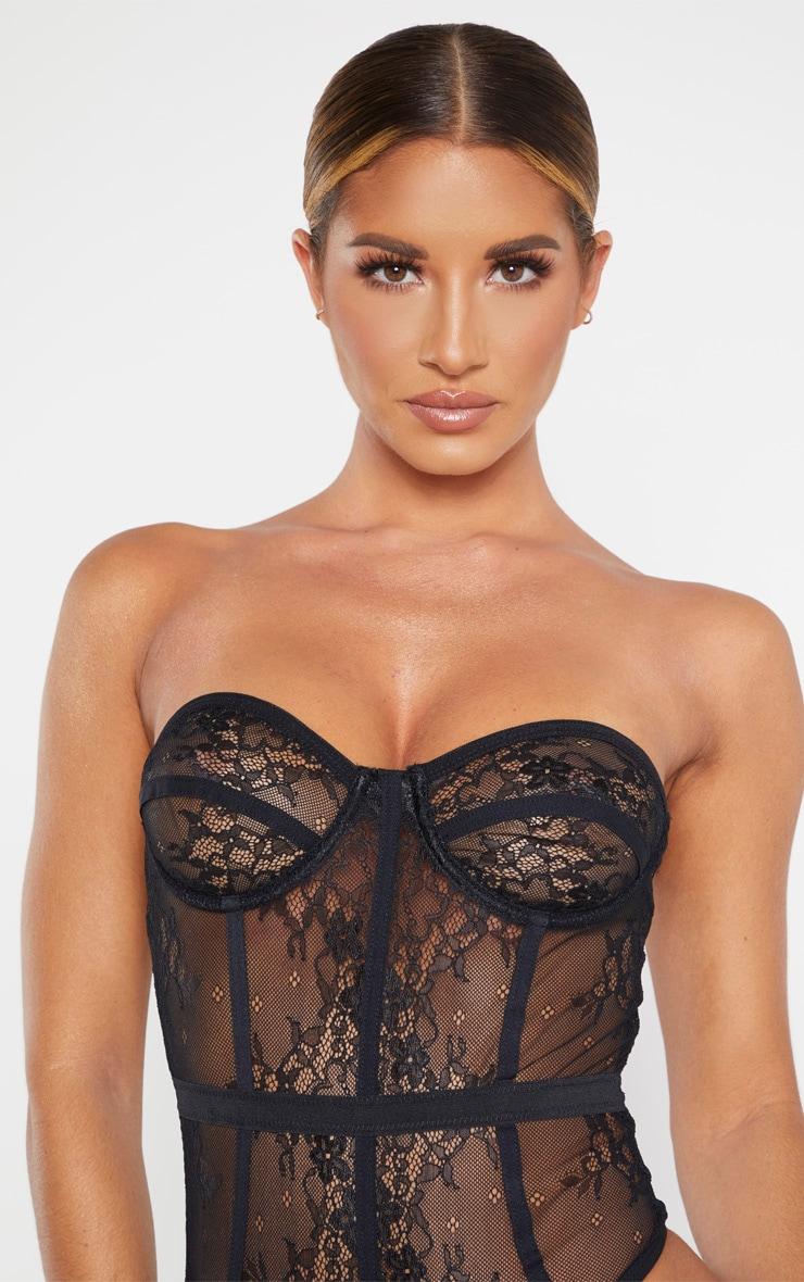 Body style corset noir à détail dentelle 6