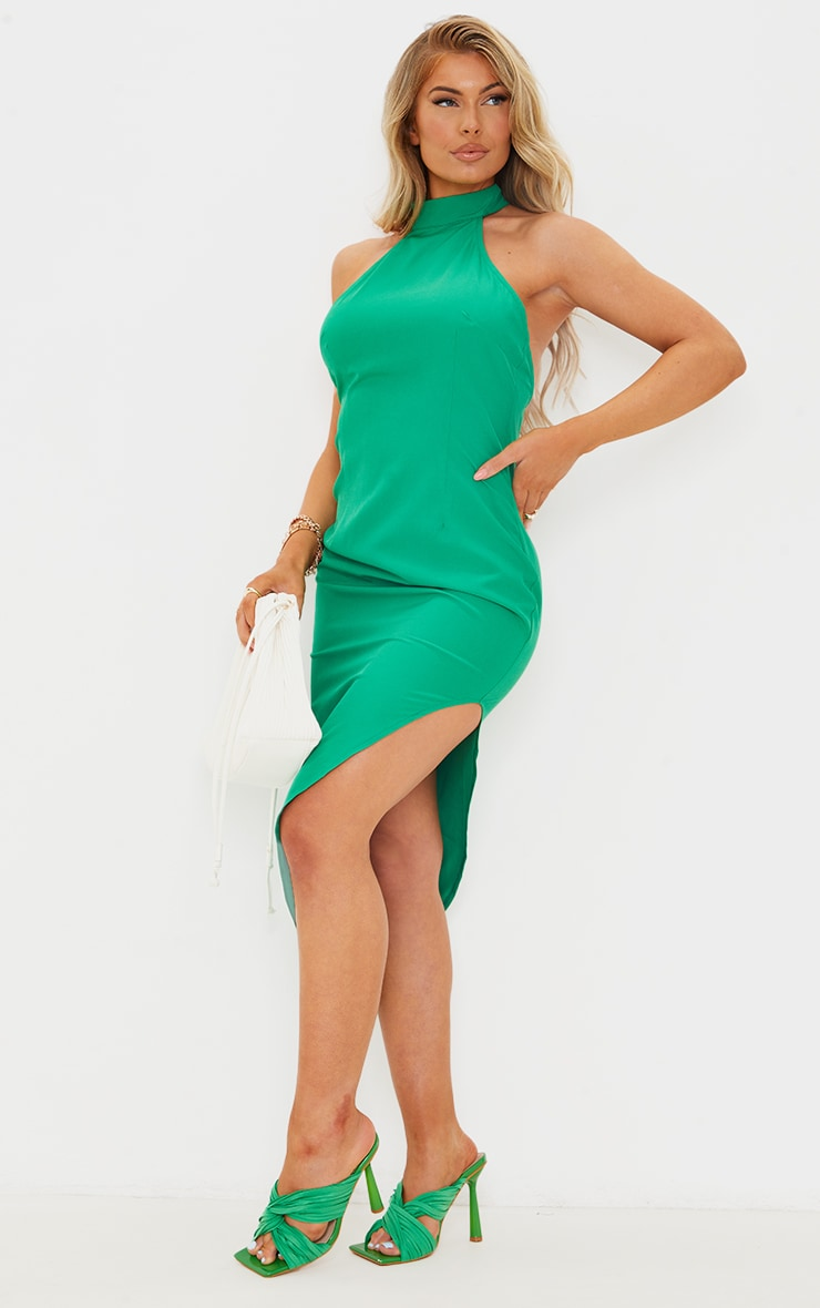 Green High Neck Open Back Detail Asymmetric Midi Dress 3