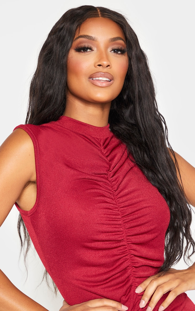 Shape Burgundy High Neck Ruched Front Sleeveless Bodycon Dress 5