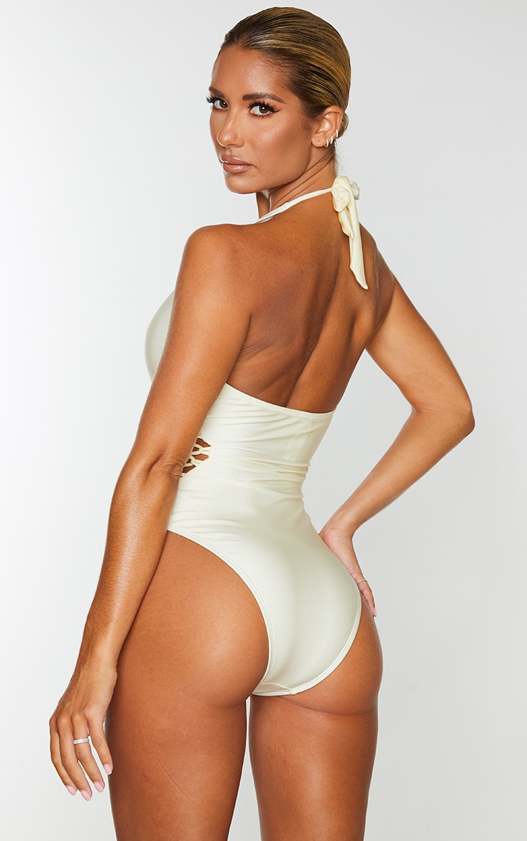 Cream Laced Detail Plunge Swimsuit 2