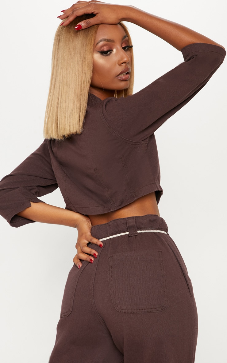 Chocolate Contrast Button Denim Crop Top  2