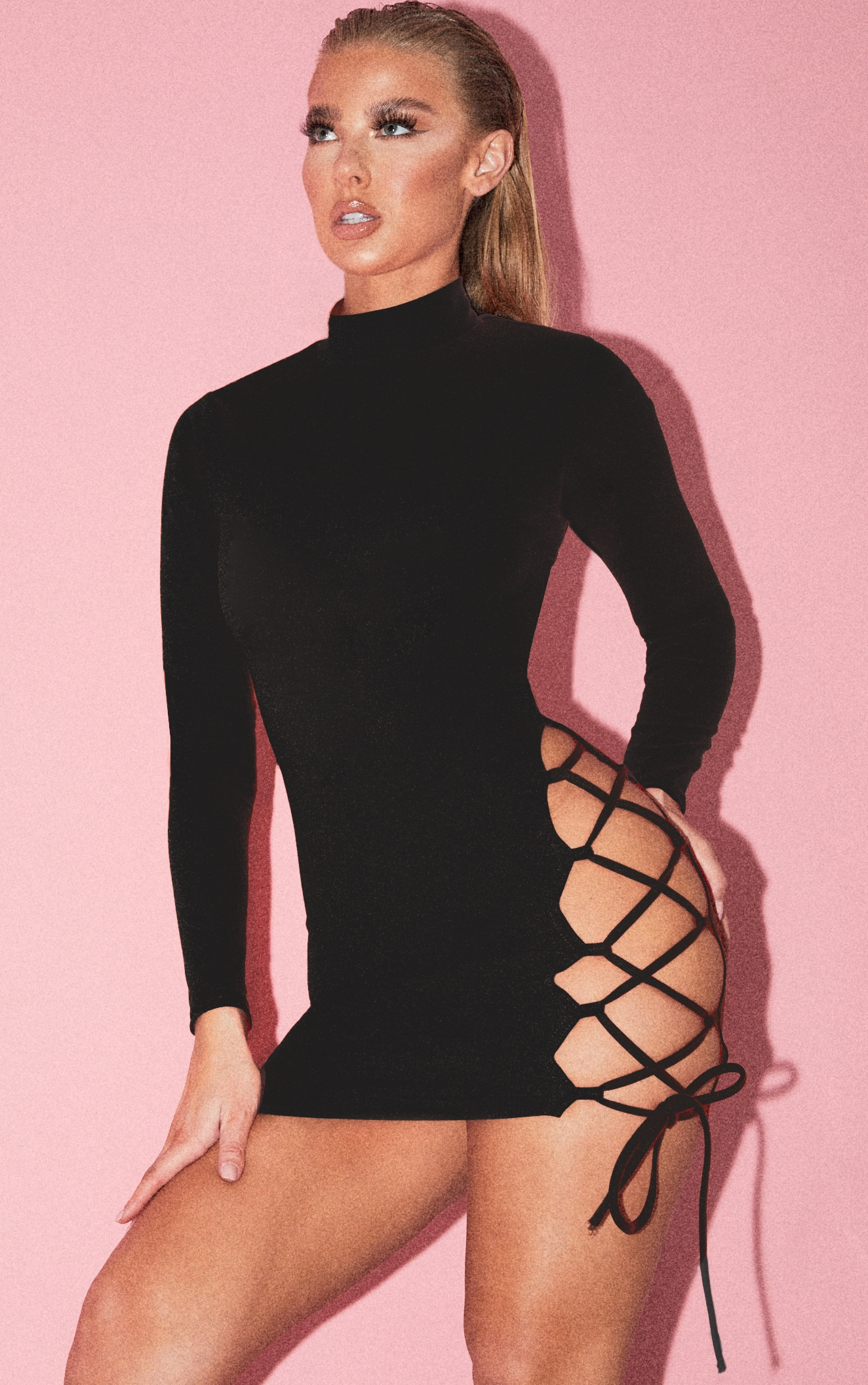 Black High Neck Cut Out Side Seam Bodycon Dress 2