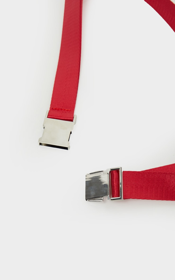 Red Carabiner Clip Double Taping Belt 5
