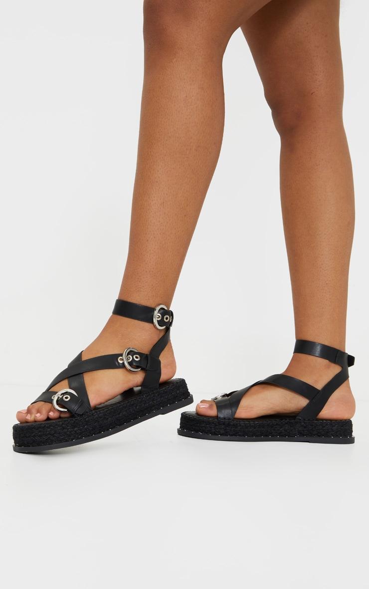 Black Espadrille Flatform Gladiator Sandals 2