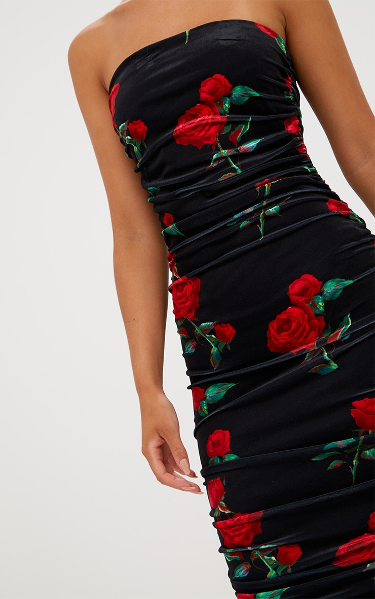 Black Floral Printed Velvet Ruched Bandeau Midi Dress 5