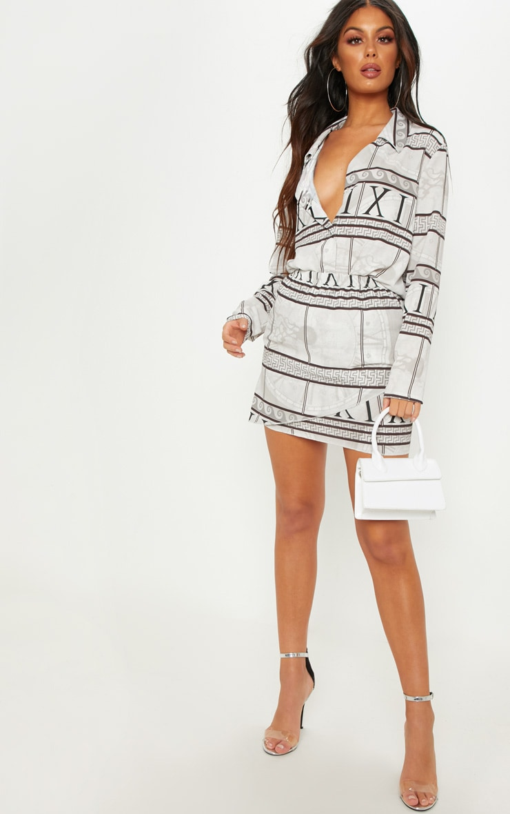 White Abstract Print Wrap Mini Skirt 1